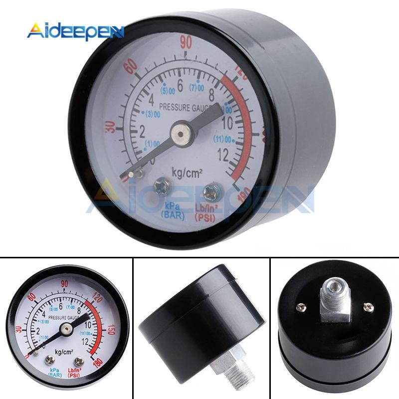 Bar Air Pressure Gauge 13mm 1//4 BSP Thread 0-180 PSI 0-12 Manometer Double Scale