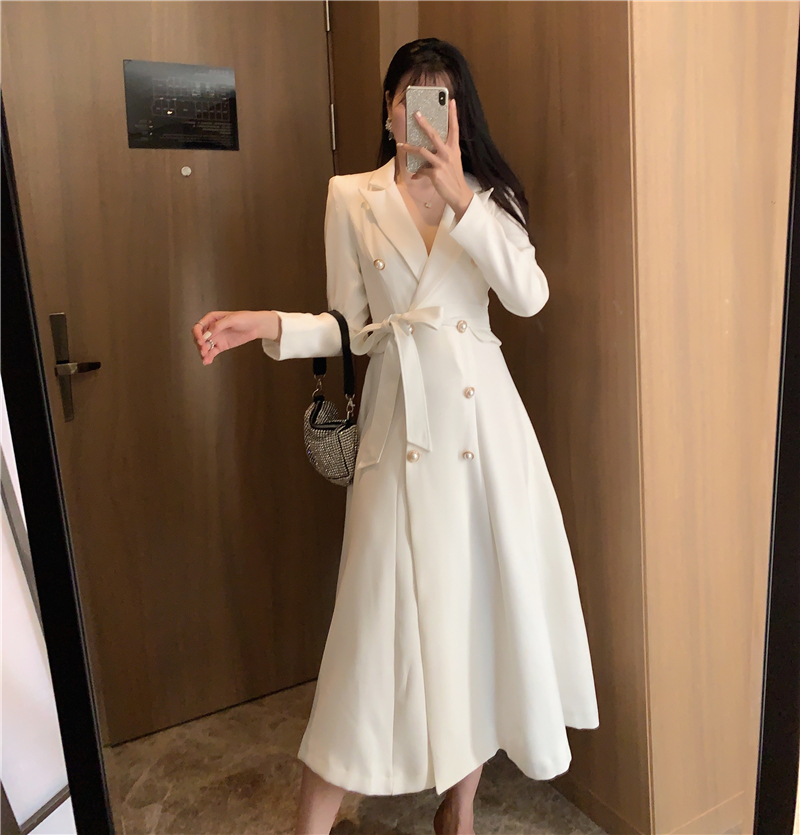 Women Dress 2020 Spring Autumn New Retro Double Breasted Medium-length Dress Business Dresses Ropa Mujer
