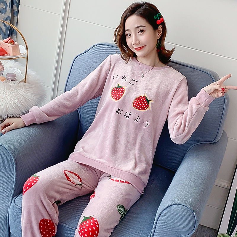 Autumn Winter Flannel Cartoon Cute Pajamas Long Sleeve Pyjamas Women Pijama Mujer Loungewear Home Clothes Sleep Set Nightwear 24