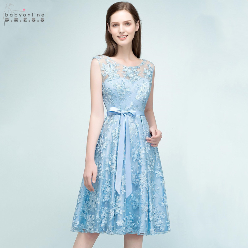 Sexy Illusion Lace Short Cocktail Dresses 2019 Sky Blue Backless Bowknot Party Dresses With Ribbon Sashes Robe De Cocktail