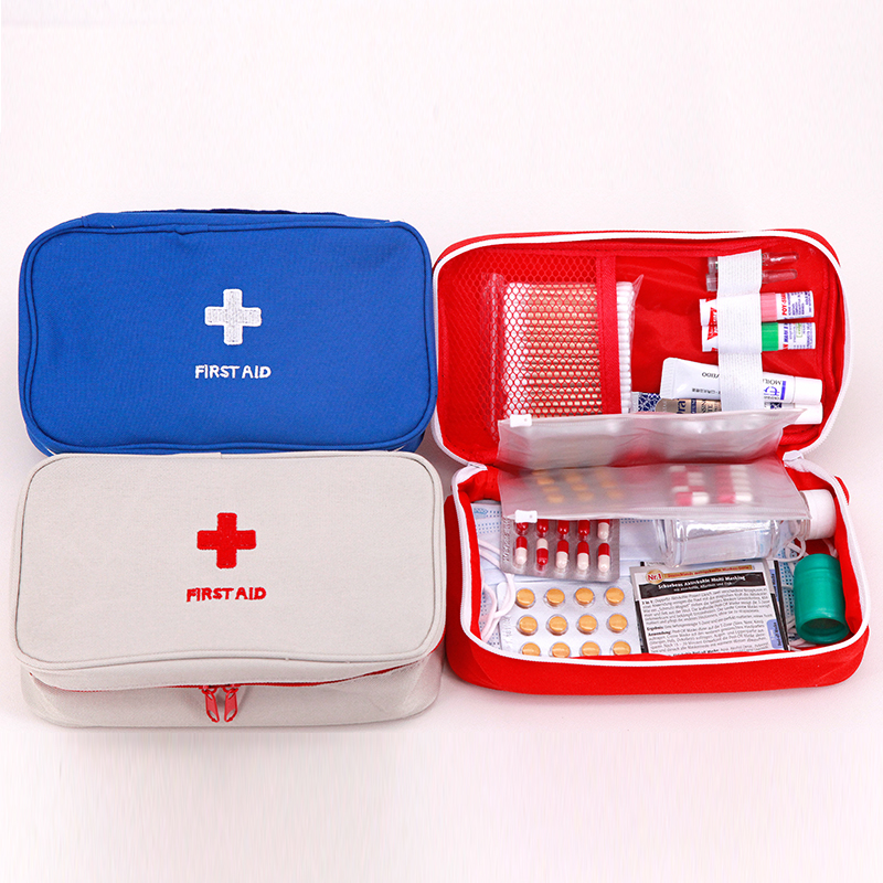 Kit de primeiros socorros portátil para viagem, kit de primeiros socorros, emergência, sobrevivência, caixa médica, vermelho/azul/cinza, para casa carro ao ar livre acampamento