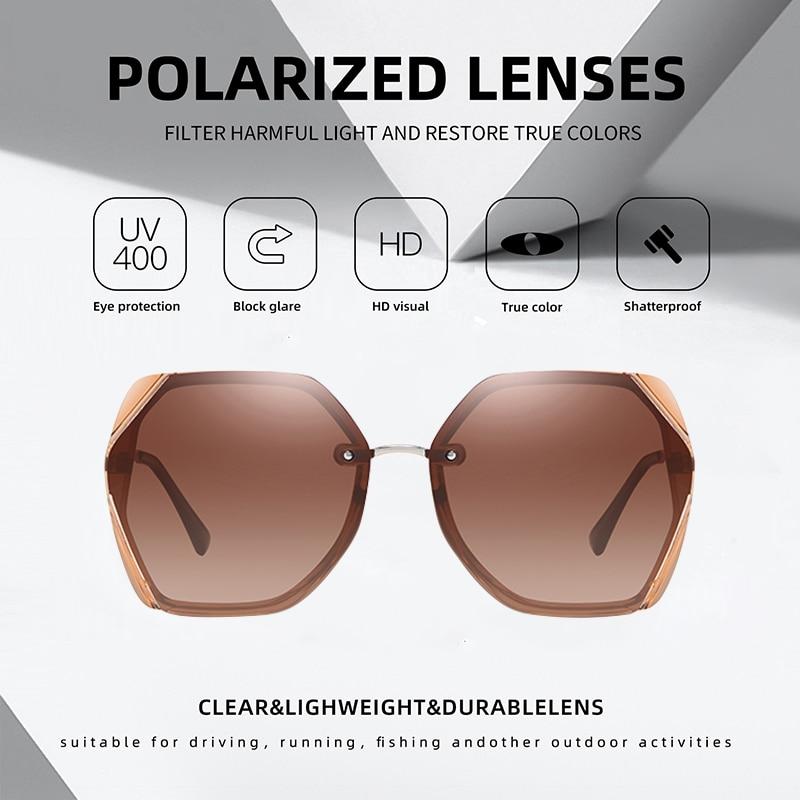Image 3 - AOFLY BRAND Female Sunglasses Polarized Luxury Designer Oversized Frame Gradient Lens Square Sun glasses For Women Goggle UV400Womens Sunglasses   -