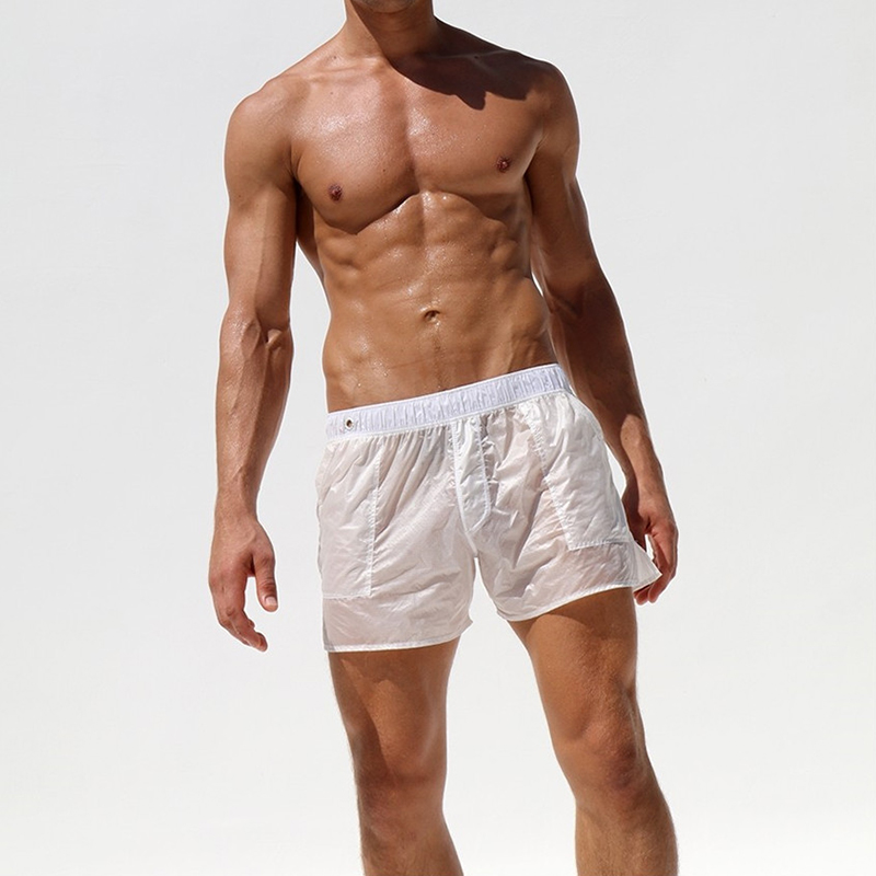 Mens Casual Shorts Sexy Fully Transparent Fast Dry Boardshorts Masculino Shorts Men Homme Gym Clothing Maillot De Bain Short