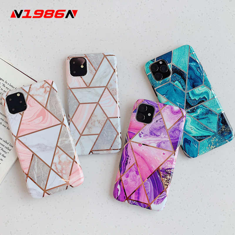 N1986N Telefoon Case Voor iPhone 11 11 Pro Max X XR XS Max 6 6s 7 8 Plus Luxe splice Marmer Electroplated Shiny IMD Voor iPhone 11