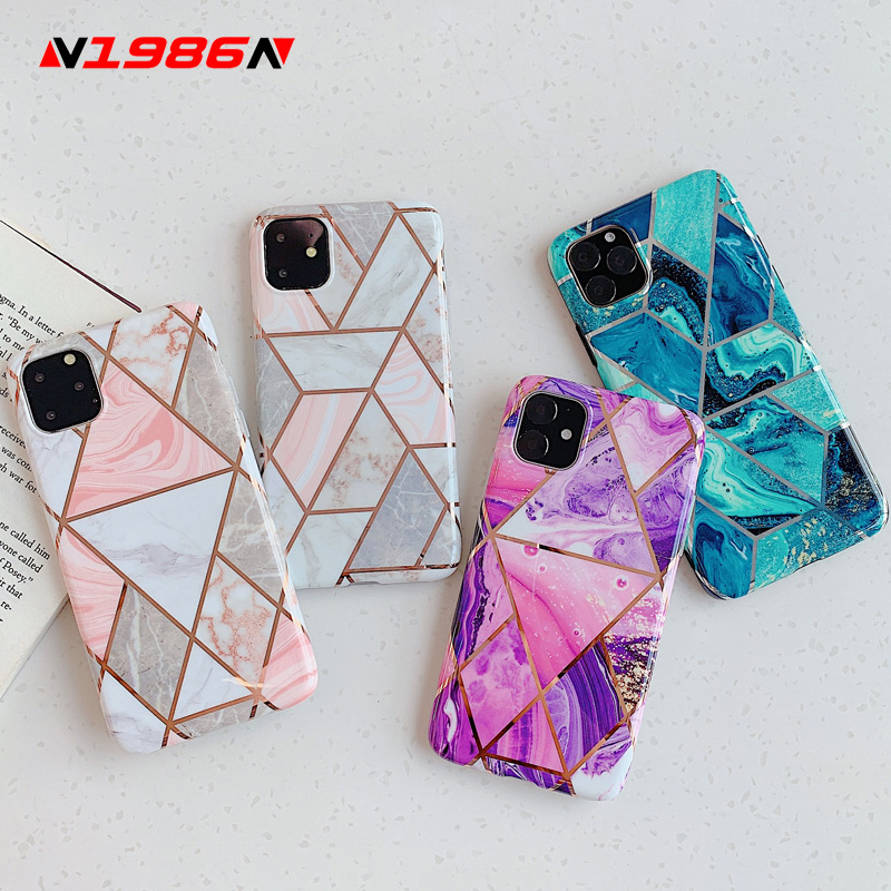 N1986N Phone Case For IPhone 11 11 Pro Max X XR XS Max 6 6s 7 8 Plus Luxury Splice Marble Electroplated Shiny IMD For IPhone 11