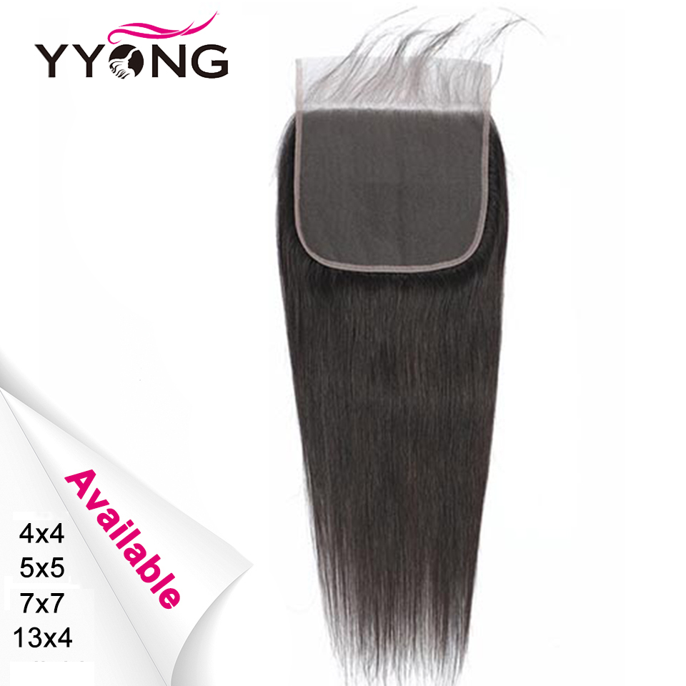 Yyong peruano em linha reta 5x5 7x7 fechamento frontal do laço do cabelo humano 13x4 orelha a orelha do laço frontal médio marrom do laço remy pode branqueado