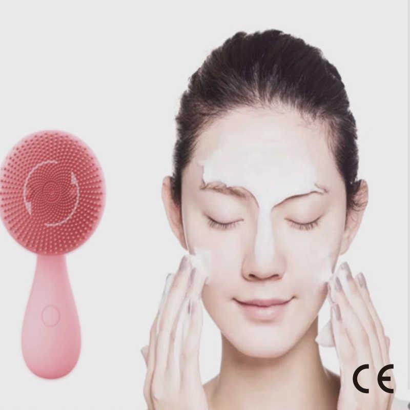 CE Certificatio, pequeño masaje de cuentas de buena suerte, ondas de sonido de silicona con limpiador Facial, cepillo Facial eléctrico multifuncional giratorio