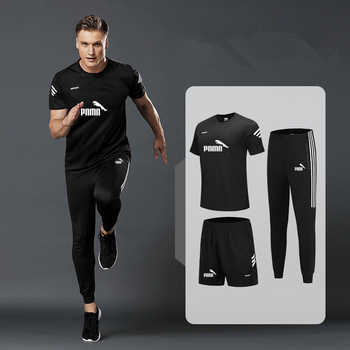 3-piece sports T-shirt mens suit running shorts + jogging pants sportswear basketball football fitness clothes new