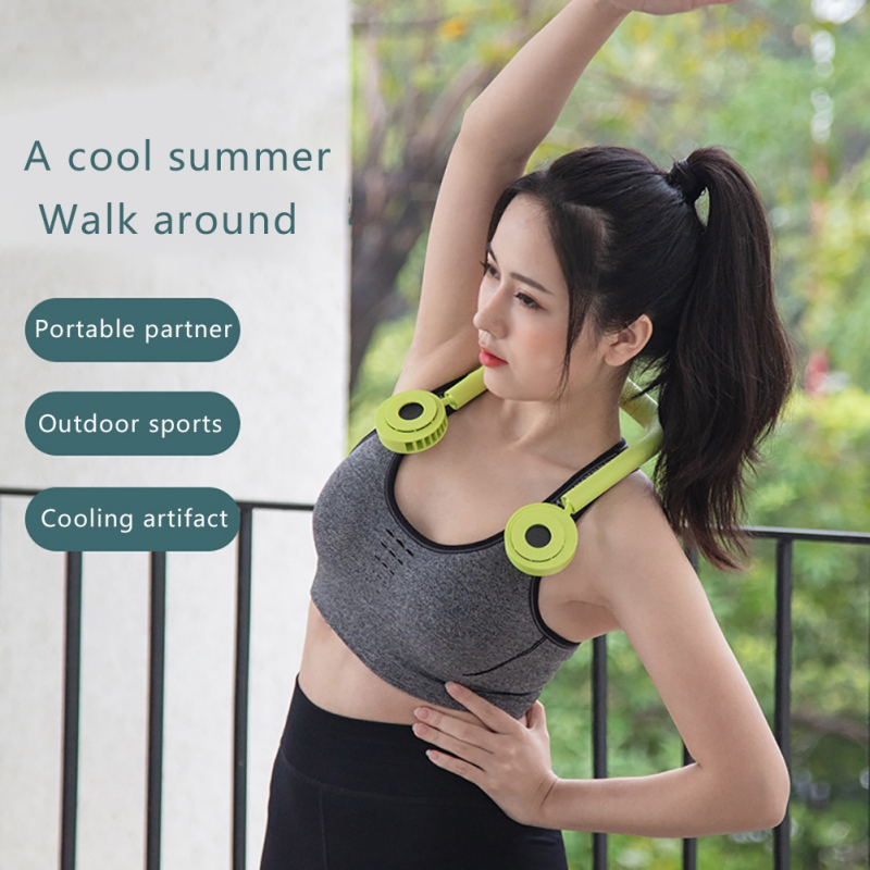 Hands-free Neck Band Hands-Free Hanging Fan USB Rechargeable Dual Fan Mini Air Cooler Summer Portable Hanging Sport Fan