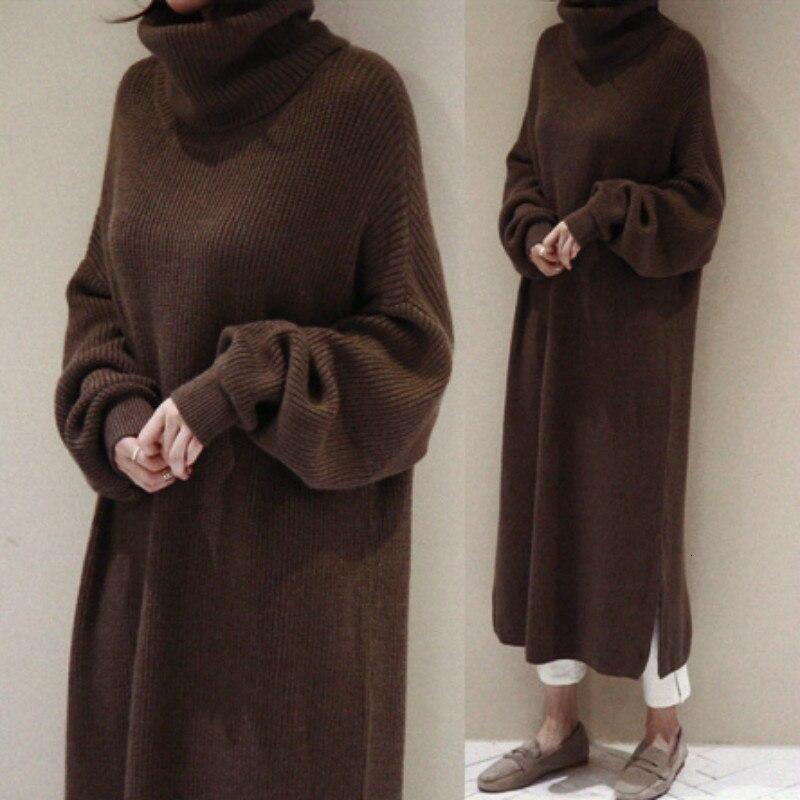 Femmes Automne Hiver Longue Épaissir Pull Col Roulé Robe Droite Maxi Robes Robe Pull Femme Sukienki décontracté Jurken