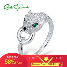 SANTUZZA Silver Panther Ring For Women Pure 925 Sterling Silver Creative Ring Cubic Zirconia Rings Party Fashion Jewelry