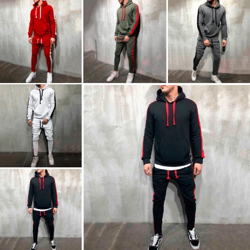 2Pcs Newest Men Casual Color Bl-ock Hoodie Sweatshirt Drawstring Pants Sports Men's Tracksuit