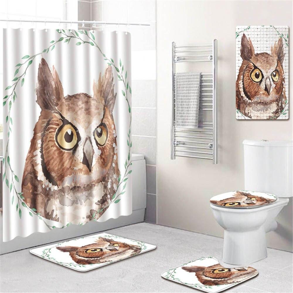 3D Животный Единорог принт ванная комната занавеска для душа водонепроницаемый полиэстер ПВХ нескользящий коврик для унитаза коврик для ва... - 6