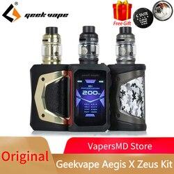 Original Geekvape Aegis X Zeus Kit Electronic Cigarette 200W Box Mod with 5ml Zeus Sub ohm Tank Vaporizer VAPE Kit VS Legend