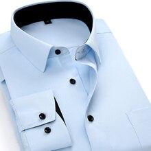Erkek iş gömlek marka yumuşak uzun kollu kare yaka düzenli katı düz/dimi erkekler elbise gömlek beyaz erkek üstleri