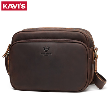 KAVIS Luxury Brand Crazy Horse Messenger Men Bag Cow Leather  Crossbody Male Bags Large Capacity Fashion Business Casual Bag 2020 new fashion men briefcase bags genuine leather large capacity bag male vintage bags luxury brand casual shoulder bag