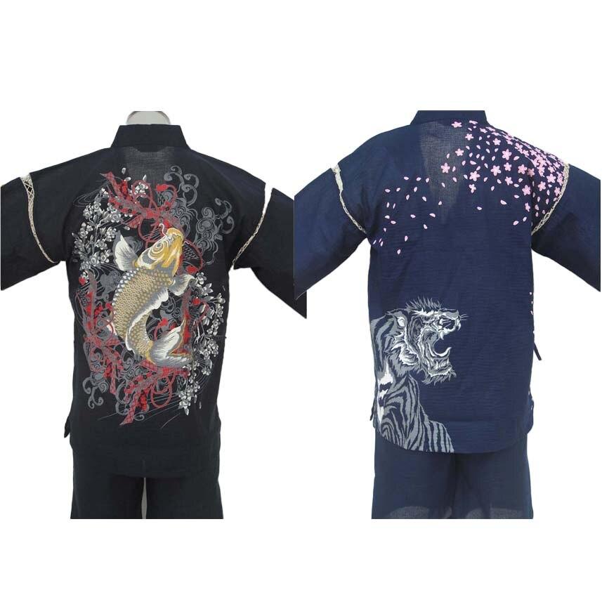 Traditional Japanese Kimono Clothing For Men Thin Cotton Sauna Wear Yukata Sleepwear KOI Ukiyo-e Print Short Sleeve Pajamas Set