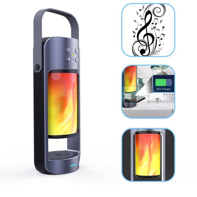 BRELONG USB ceinture électrique portable Bluetooth audio lampe à flamme prend en charge 10W veilleuse sans fil