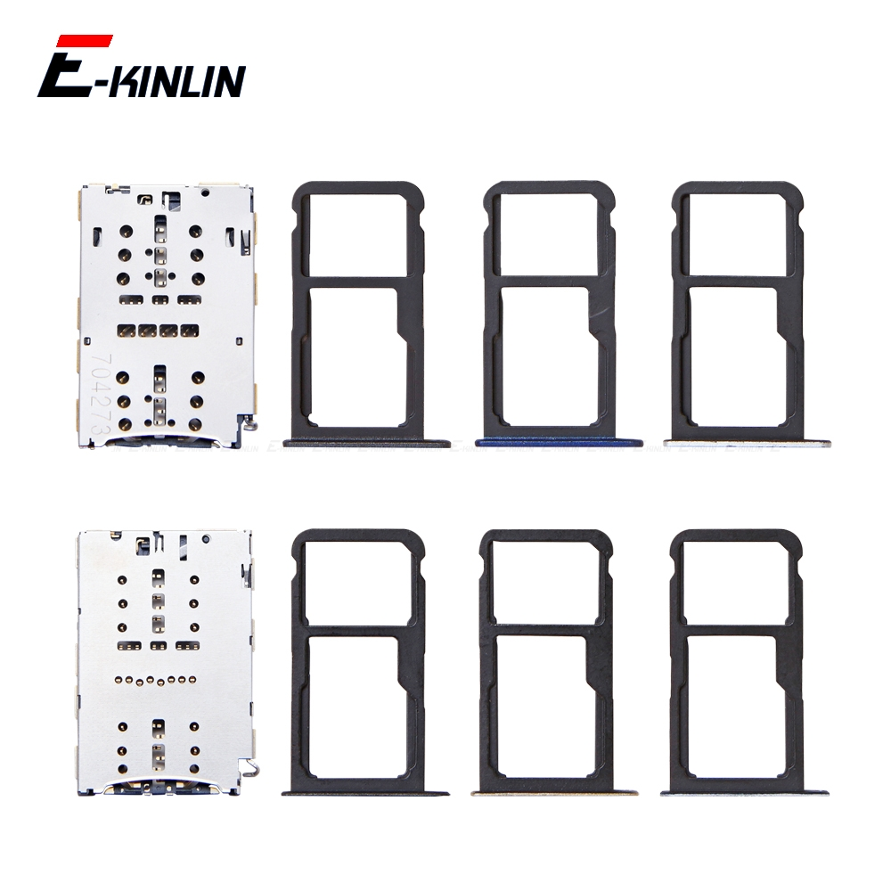 Sim Micro SD Card Socket Holder Slot Tray Reader For HuaWei P9 P8 Lite 2017 2016 Adapter Container Connector Replacement Parts