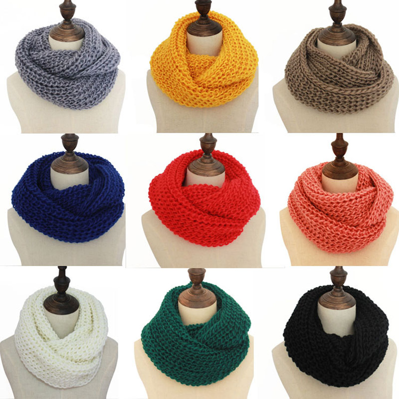 Solid Knitted Snood Winter Basic Infinity Scarf Ring For Women