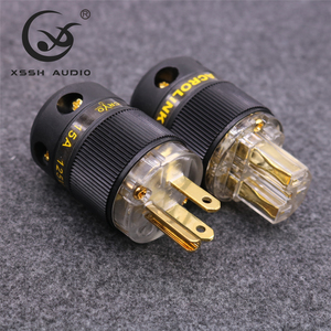 Image 3 - XSSH FP 15&FC 15 Hi End HIFI Pure Copper Plating Gold Electrical Connector 18mm AC Female Male Power US Plug IEC Socket
