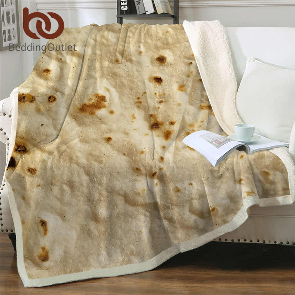 BeddingOutlet Corn Tortilla Sherpa Throw Blanket Pita Lavash Food Funny Blanket for Bed Flannel Fleece Plush Bedspreads Dropship