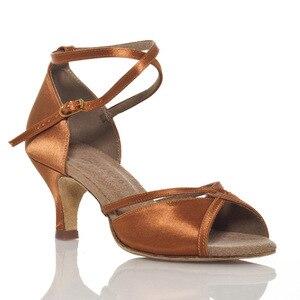Image 5 - Schwarz Satin + PU Oberen Ballsaal Tanzen Schuhe frauen Tanz Schuhe Mit Hohen Absätzen Tanz Schuhe Frauen Latin Schuhe mit breite Breite