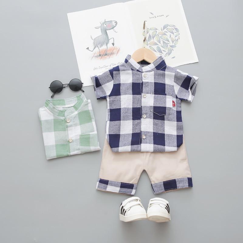 Baby Boys Clothes Fashion Short Sleeve Plaid 2pcs Summer Gentleman Baby Boy Clothes Children Clothes