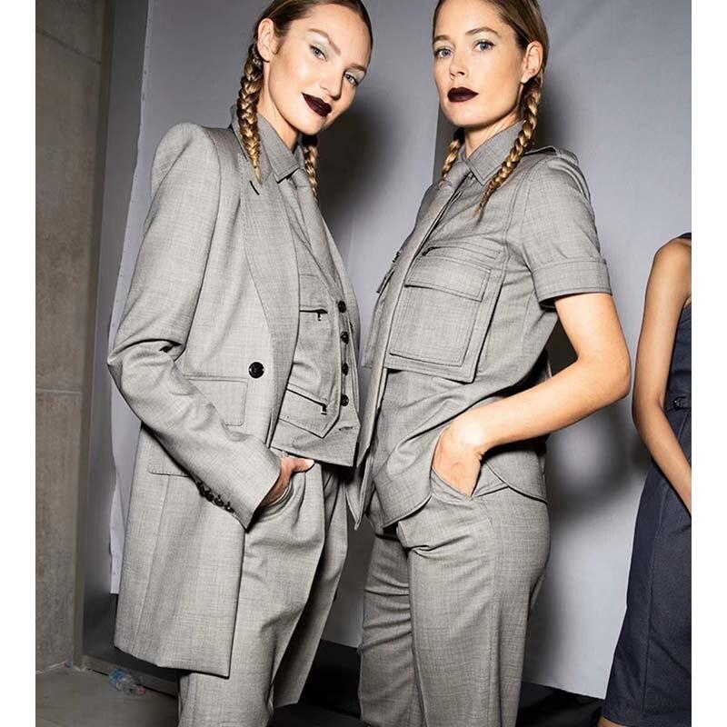 Cosmicchic 2020 4 Piece Set Women Lapel Blazers Pocket Vest Short Sleeve Tie Blouse High Waist Shorts Runway Design Outfits
