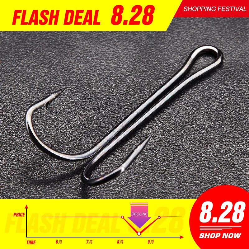Hunt House Fishing Double Hooks Soft Lures Double Hook Long High Carbon Steel Sharp Hooks Fishing Tackle Fishing Tackle