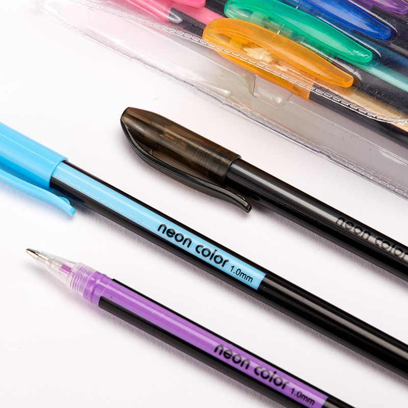 48 цветов, гелевая блестящая ручка, неоновые цветные чернила, 1,0 мм, милые ручки для детского рисования, школьные ручки, милые канцелярские принадлежности