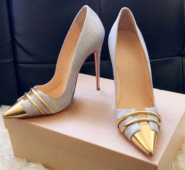 Пикантная Женская Праздничная обувь со стразами, с металлическим блеском, с острым носком, на шпильках, свадебные туфли, модельные туфли с л