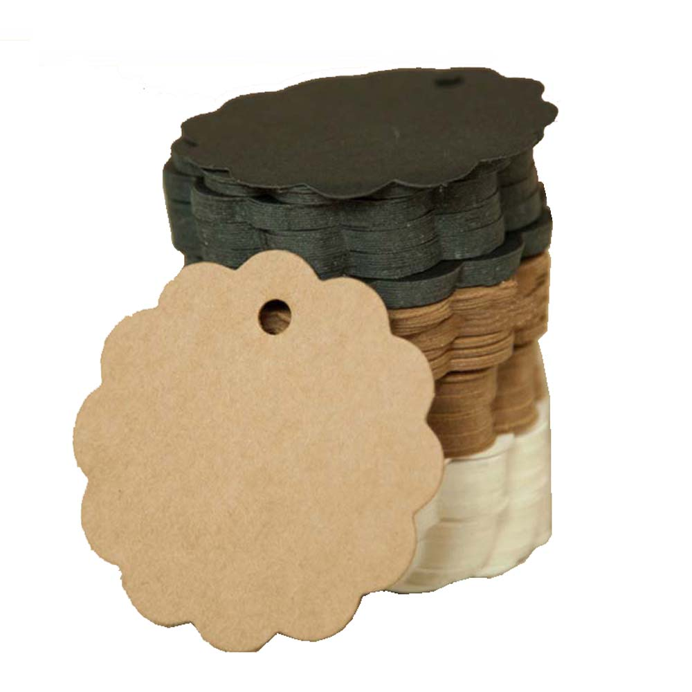 100pcs Kraft Paper Card 60mm Round Scalloped  Gift Tag DIY Luggage Wedding Gift Box Package Tag Price Label With 10M Jute Twine