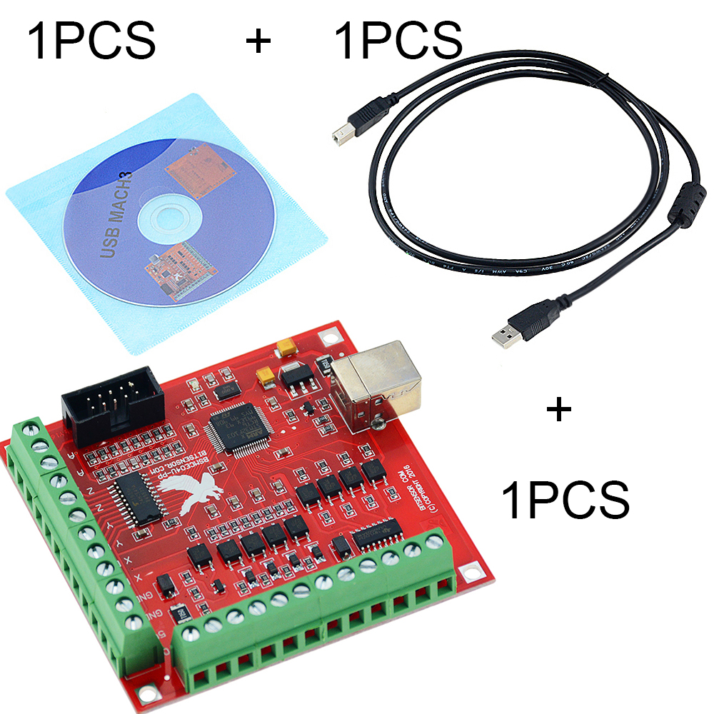 3PCS/SET 1PCS MACH3 Breakout board +1PCS USB Wire+1PCS CD CNC USB 100Khz 4 axis interface driver motion controller driver board image
