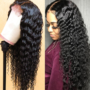 Image 5 - Deep Curly Lace Front Wig Human Hair Wigs For Black Women Deep Wave wig 150% Density Wet And Wavy Water Wave Lace Front Wig