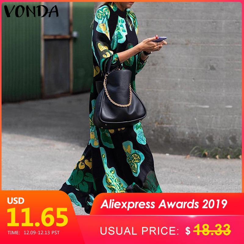 2019 VONDA Summer Dress Women Long Maxi Dress Vintage Floral Printed Long Sleeve Loose Beach Sundress Plus Size Casual Vestidos