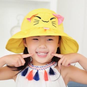 Topee CHILDREN'S Cartoon Cute Summer Sun Protection Hat  Children Folding Empty Top Sun Hat Brimmed Hat multi brimmed sinamay hat