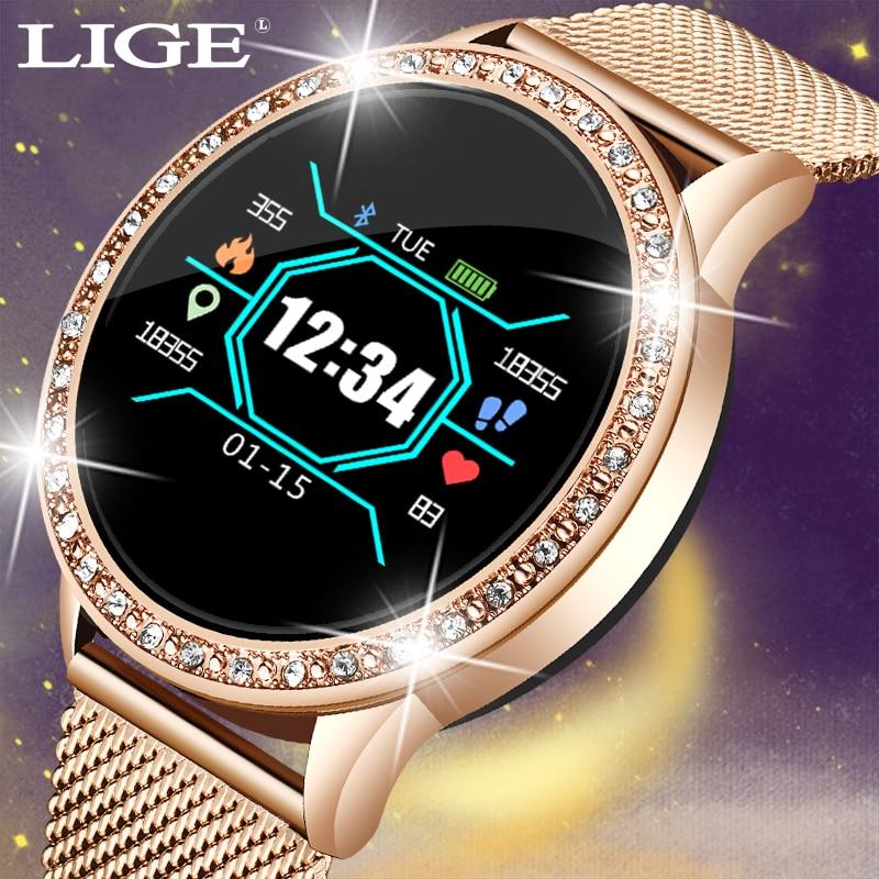 LIGE 2019 New 1.0 inch Women Smart Watch IP67 Waterproof Heart Rate Monitor Calories Smartwatch Women men For Android IOS Phone