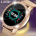 LIGE 2019 nouveau 1.0 pouces femmes montre intelligente IP67 étanche moniteur de fréquence cardiaque Calories Smartwatch femmes hommes pour téléphone Android IOS