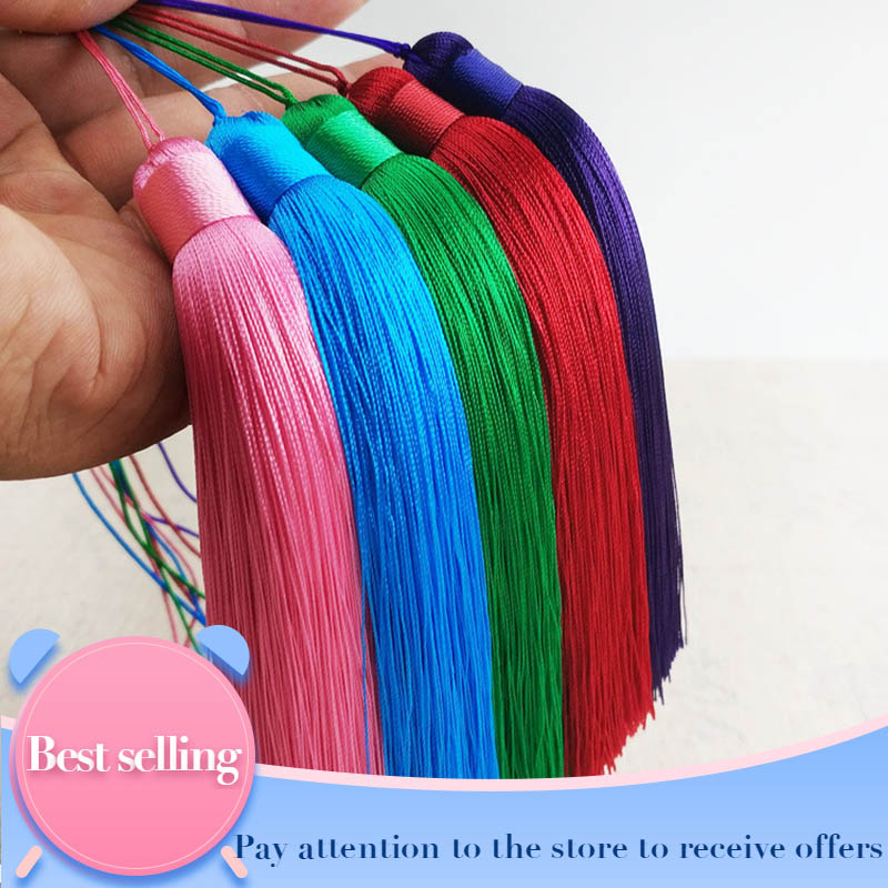 Customizable 12cm Polyester Tassels With Hanging Ring Silk Sewing Bang Tassel Trim Decorative Key Tassels For Pendant Home Decor