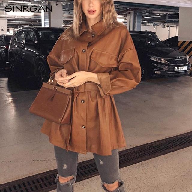SINRGAN Blue Leather Short Dress With Belt Oversized Streetwear Jacket 4