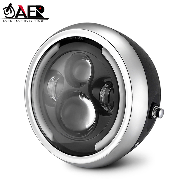 JAER Round 7.5″ LED Motorcycle Headlight Hi&Lo HeadLamp Bulb DRL with Angel Ring for Harley Sportster Cafe Racer Bobber