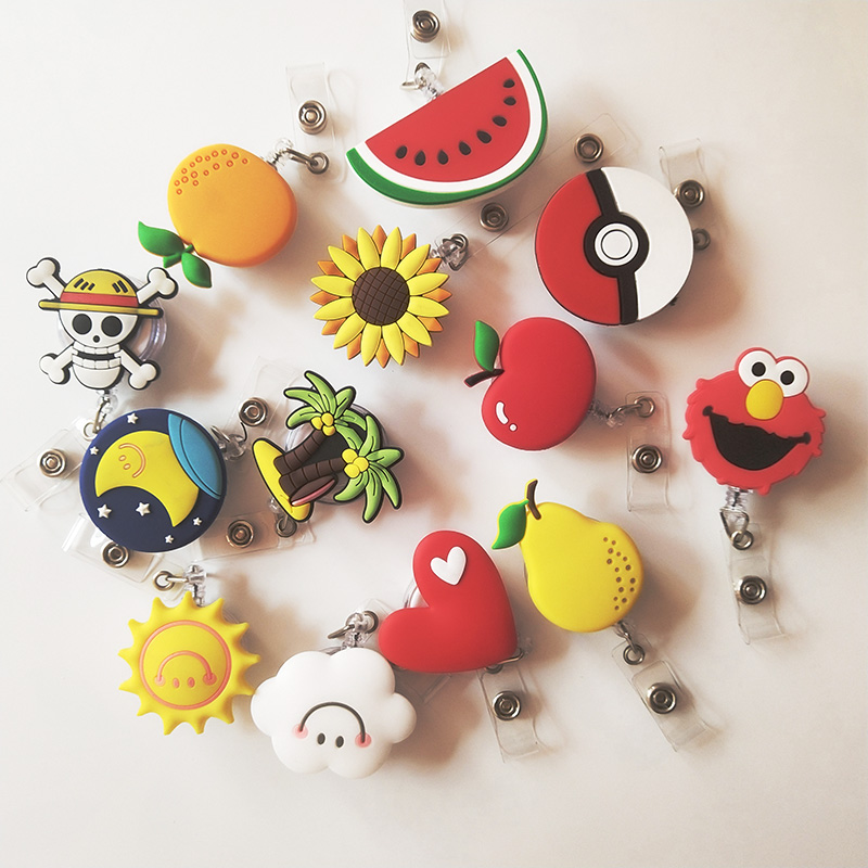 Fashion  Fruit Hero Cartoon Retractable Badge Reel The New Student Nurse Exihibiton ID Name Card Badge Holder Office Supplies
