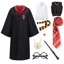Slytherin Halloween Cosplay Costume Children Girl Boy Robe Cloak Sweater Shirt Skirt Tie Scarf Magic Wand Accessories Clothes