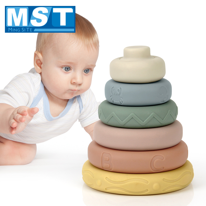 6Pcs/Set Colorful Soft Plastic Building Blocks Toys 3D Touch Baby Massage Rubber Teether Squeeze Toy For Children Grasp Toy