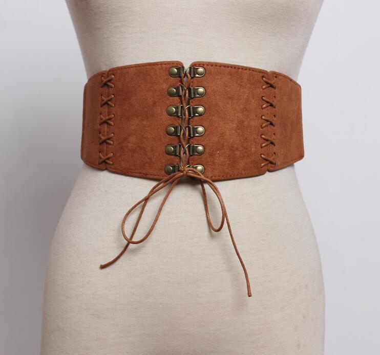 Women's Runway Fashion Faux Suede Leather Cummerbunds Female Dress Coat Corsets Waistband Belts Decoration Wide Belt R1751