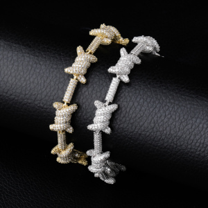 Image 3 - จิงโจ้ Hip Hop เครื่องประดับ staggered รูปแบบความยาว x Knot เงินทอง PRONG การตั้งค่า AAA Cubic Zircon 6 ครั้งชุบสร้อยข้อมือ