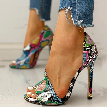 Kobiety pompy nowe buty Sexy wysokie obcasy damskie szpilki na imprezę i powiększalniki damskie srebrne wesele nadruk węża obcasy Zapatos Ui Hot tanie i dobre opinie GAOKE Gladiator Cienkie obcasy Super Wysokiej (8cm-up) Pasuje prawda na wymiar weź swój normalny rozmiar LEISURE Rzym