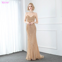 YQLNNE 2020 Sparkling Gold Long Evening Dresses Mermaid Straps Stones Sleeveless Evening Party Gowns