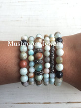 Gunmetal Color Charm Bracelet Pave Rhinstone Bracelet Amazonite Beads Bracelet For Women ,Natural Stone For Women luminous pearl bracelet stone bracelet rare stone bracelet